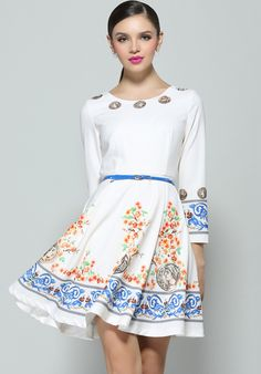 White Long Sleeve Floral Coins Print Dress $58.5
