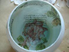 Fanal o florero realizado con decoupage en vidrio, Diselo interior.