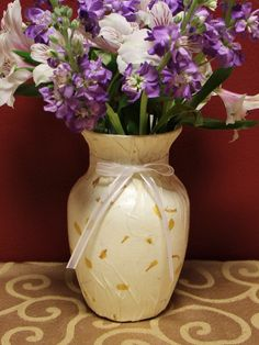 Handmade Yellow Petals Paper Design Glass Vase by KjgBoutique on Etsy