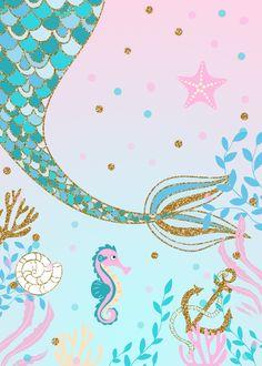 Mermaid Party Baby Shower Invitation Under The Sea Purple Teal Gold Glitter Ocean Starfish
