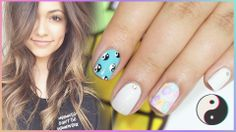 BETHANY MOTA Inspired Nails ♥ Yin Yang and Flowers #bethanymota #motavator