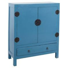 """Featuring 2 drawers, this mahogany wood cabinet offers ample storage for everything from extra blankets to table linens.   Product: CabinetConstruction Material: MahoganyColor: Antique dark blueFeatures:  Two doorsOne drawer Dimensions: 39"""" H x 34"""" W x 19"""" D"""