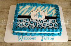 Blue Safari Baby Shower Cake