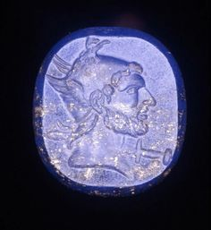 Lapis lazuli sealstone engraved with the head of Perseus of Macedon in the character of Perseus. Hellenistic. 323 - 31 B.C. | The British Museum