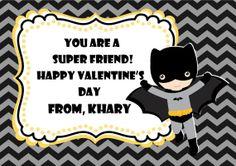 Superhero Valentine's Day card, Superhero and Chevron, Happy Valentine's Day, Custom Valentine's Day cards, Batman card