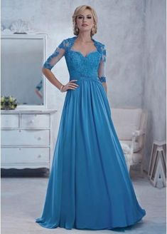 32e7d8f0ef  115.99  Chiffon A-line Gown Queen Anne Neckline Floor-Length Pleated Mother