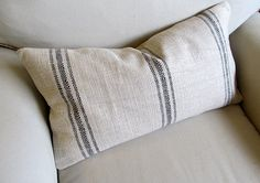 FRENCH LAUNDRY  Grain Sack 12x25 sofa pillow  in BLACK by yiayias, $59.00