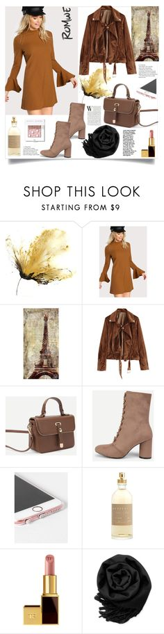 """Romwe.Bell Sleeve Rib Knit Dress"" by natalyapril1976 ❤ liked on Polyvore featuring Leftbank Art, Burberry, Tom Ford, Gearonic and Bobbi Brown Cosmetics"