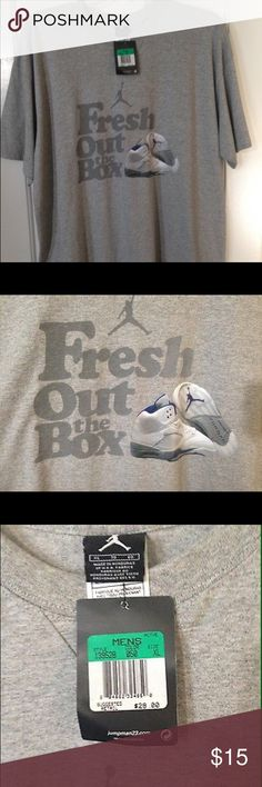 "Nike Air Jordan Retro 5 Gray T-Shirt US XL Hello All, Today I am selling a Nike Air Jordan 5 Retro ""Fresh Out The Box"" T-Shirt. This shirt is gray with the words ""Fresh Out the Box"" and image of the Jumpman Logo/Air Jordan 5 Stealth. It has never been worn and is brand new with tags. Thank you for checking out my listing! Jordan Shirts Tees - Short Sleeve"