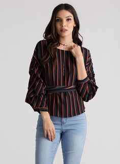 Staying Striped Puffy Wrapped Blouse TEAL MUSTARD - GoJane.com