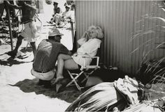 Marilyn Monroe and Arthur Miller on the set of Some Like it Hot, 1958.