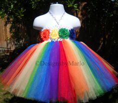 Rainbow tutu dress PICK ANY SIZE Rainbow dress by Designsbymarlo