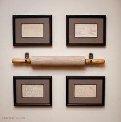 Handwritten recipes in frames