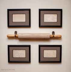 Handwritten recipes in frames