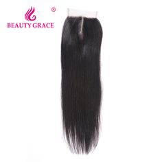 Beauty Grace Peruvian Straight Lace Closure 4x4 Non-Remy 100% Human Hair Closure Piece Middle Part Top Closure Bleached Knots