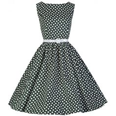 'Audrey' Polka Dot Vintage 1950's Rock 'N' Roll Swing Dress ($34) ❤ liked on Polyvore featuring dresses, green, polka dot dress, black swing dress, green dress, black skater skirt and trapeze dress