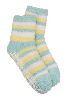 Red Carpet Studios Spa Socks, Banana with Seafoam Green and Cream Stripes >>> See this great item. Striped Slippers, Patterned Socks, Slipper Socks, Funky Fashion, Hot Outfits, Womens Slippers, Fashion Accessories, Hair Accessories, Red Carpet