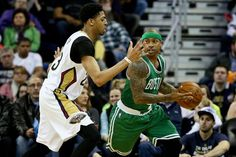 Isaiah Thomas, who scored 27 points Friday night, was hounded by Pelicans big man Anthony Davis in the second half.