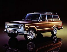 Jeep Grand Wagoneer - The first genuine SUV, looking a bit garish towards the end of its lifespan here. Still, very desirable. But one of the first Kaiser Jeep Wagoneers will be on my list as well.