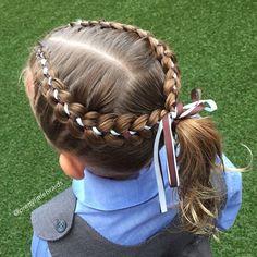5 Strand ribbon braids today into a high ponytail.  #littlegirlshairstyles #cutegirlshairstyles #braid #braids #braidsforgirls #braidphotos #instabraid #instahair #peinados  #cutehairstyles101 #geflochten #hairstylesandtips #braidideas #bnwbraids #solopeinados @bestofhair #hairinspiration #flette #bnwbraids