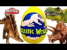 GIANT Jurassic World Surprise Egg Play Doh – Learn Dinosaur Names with Surprise Eggs - YouTube