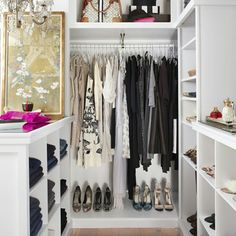 """Closet inspiration.  Love the multiple shelves for clothes and accessories.  #inspiration #chicclosets #lovely #style #organizedcloset #organizingideas…"""