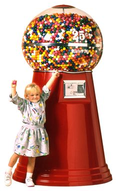 This one is quite big, too. Holds over 20,000 one-inch gumballs. Weighs 128 lbs. Stands 79 inches tall and 42 inches in diameter. Costs $2,349.