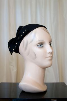 1940's Hat // New York Creation Studded Bow Side by GarbOhVintage, $68.00