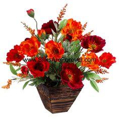 """14""""Hx17""""W Poppy & Astilbe Silk Flower Arrangement -Red/Orange - WF1308-RE/OR"""