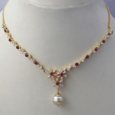 Sleek Ruby Diamond Necklace - Indian Jewellery Designs South Jewellery