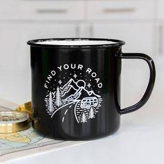 Enamel Mug - Adventure Camping Mug Travel Enamel Mug Coffee Mug Enamelware Road Trip Gift For . Cute Coffee Mugs, Cool Mugs, Coffee Cups, Coffee Coffee, Todo Camping, Camping Coffee, Camping Ideas, Cute Cups, Mountain Tattoo
