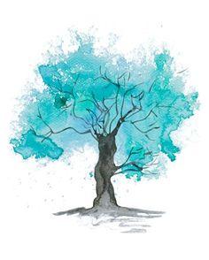 Fine art tree print Teal Tree watercolour by PurplePebbleStudios Tree Watercolor Painting, Abstract Watercolor, Abstract Trees, Large Painting, Painting Art, Metal Tree Wall Art, Wood Wall, Tree Illustration, Tree Art