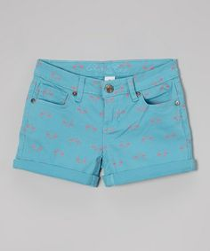 Loving this Blue & Pink Flamingo Shorts - Girls on #zulily! #zulilyfinds