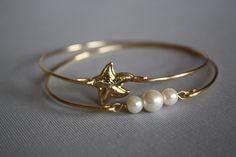 Starfish and Three pearls Gold Bangle Bracelet Nautical jewelry Set of two. $24.00, via Etsy.