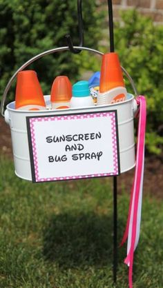 Having an outdoor grad party? Create this adorable DIY sunscreen and bug spray basket to protect your guests for the sun and those pesky bugs.