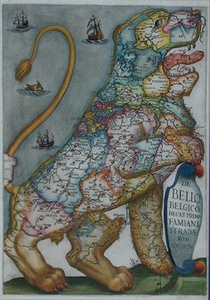 The Leo Belgicus (the Belgic Lion) was used in both heraldry and map design to symbolize the Low Countries Netherlands, Luxembourg, and Belgium in the Globe Art, Map Globe, Vintage Maps, Antique Maps, Antique Prints, Old Maps, Map Design, Historical Maps, Netherlands