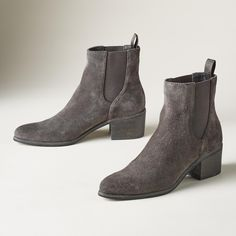 """COLBEY BOOTS--Extra-fine, velvety suede is soft to the touch in a feminine silhouette with double elastic gores for a perfect fit. Imported. Whole and half sizes 6 to 10. 2"""" heel."""