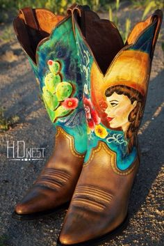 Custom hand painted boots by HD west.  HD-west.com