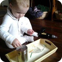 DIY Montessori fine motor trays.  Repinned by Apraxiakidslearning.