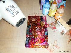 Hels Sheridan - alcohol ink on metal tape.
