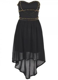 Black Strapless Chiffon Hi-Lo Dress with Stud Embellishment,  Dress, strapless dress  chiffon dress, Chic