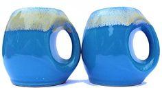 heimat 2er Set Cappuccino-Tassen - handgemachte Unikate aus Keramik - Design Retro Vintage Steingut Teetasse Kaffeetasse - blau t�rkis