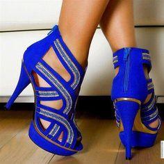 Stunning royal blue embellished suede sandals