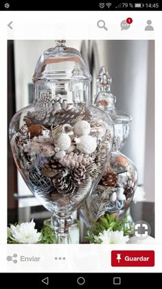 10 Minute Kitchen Decor Idea Decorate your kitchen in a jiffy with a beautiful centerpiece using apothecary jars! Apothecary jars filled with seasonal vase fillers are an easy and inexpensive way to add color and accessorize a neutral kitchen. Apothecary Jars Kitchen, Apothecary Decor, Silver Christmas, Noel Christmas, Christmas Crafts, Centerpiece Decorations, Xmas Decorations, Diy Decoration, Kitchen Island Decor