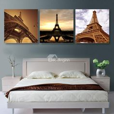 New Arrival Magnificent Eiffel Tower Cross Film Wall Art Prints  www.beddinginn.com