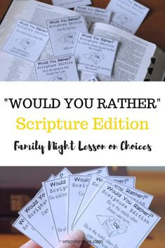 Our Would You Rather Scripture Game is not only a lot of fun, but it will also help you teach your family about the importance of Agency. This free Family Night printable is guaranteed to get your family talking and laughing. Get all the info at . Sunday School Activities, Bible Activities, Church Activities, Bible Games, Family Activities, Christian Youth Activities, Kids Church Games, Youth Sunday School Lessons, Lds Sunday School