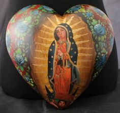 Large Size Hand Painted Heart Shape Retablo Virgin of Guadalupe Mexican Folk Art