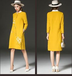Wintersweet Hand Painted Dresses Women High End Vintage Fall Button Long Sleeve Gold Casual Pencil Dresses Dr7 From Notwo, $90.06 | Dhgate.Com