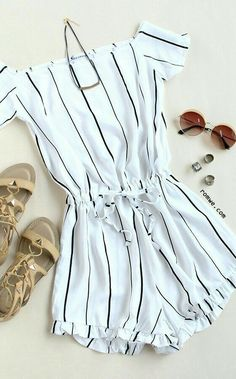 Off The Shoulder Vertical Striped Peplum Hem Romper - Summer Outfits Mode Outfits, Trendy Outfits, Fashion Outfits, Fashion Clothes, Black Outfits, Cheap Summer Outfits, Skater Outfits, Style Outfits, Workwear Fashion