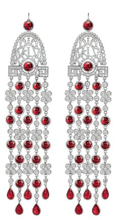 Jacob & Co.'s Jezebel Collection Earrings with Red Rubies and Round Cut Diamonds #JacobArabo #JacobandCo.